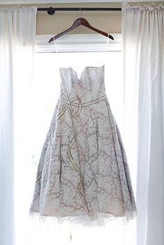 Retro floral wedding gown.