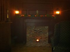 No working fireplaces left in our early home :( but still wanted hearths to decorate...so my husband built me this wall in our tavern room as a Christmas gift❤ He replicated raised panels and bead board. fireplac, hearth