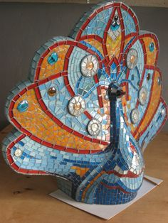 Peacock Mosaic Sculpture 'Bird Summer', colored tiles / Mosaic Workshop in Odessa