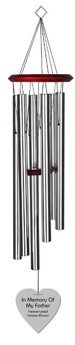 Chimesofyourlife fa-heart-35-silver Father Heart Memorial Wind Chime, 35-Inch, Silver #WindChimes #Heart #Bronze #Chimesofyourlife