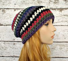 One of a Kind Remnant Slouchy Striped Beanie Hat