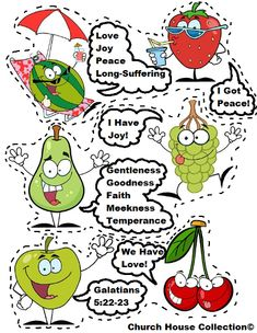 Fruit Of The Spirit Free Printable Template Cutout Activity Craft For Preschool Kids  Strawberry, Watermelon, Pear, Grapes, Apple, Cherry. Galatians 5:22-23 #sunday #school #crafts #kids #printable #fruit #spirit