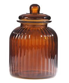 Loving this Amber Ribbed Glass Canister on #zulily! #zulilyfinds