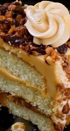Caramel Coated White Cake Recipe ~ This beautiful moist white cake recipe will delight all with its caramel topping and filling.