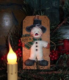 Primitive Snowman Christmas Frosty Pin Doll Pattern 544