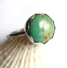 Simple Sterling Silver And Bue Green  Kingman Turquoise Ring - Size 6 - Metalsmith Turquoise Jewelry. $38.00, via Etsy.
