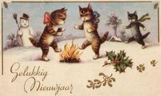 vintage Dutch Happy New Year postcard