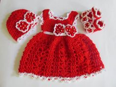 Crochet dress hat and booties set  baby dress baby by paintcrochet