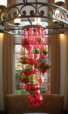 Using curling ribbon to attach the ornaments - what a great idea!