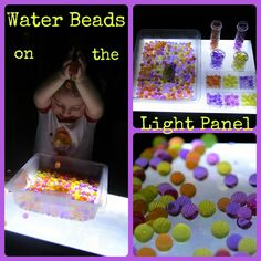 Water Beads on the Light Panel from Four Little Piglets