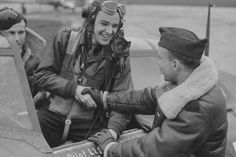 Ace Capt Bud Mahurin 56th Fighter Group in P-47D Thunderbolt, England 1944.