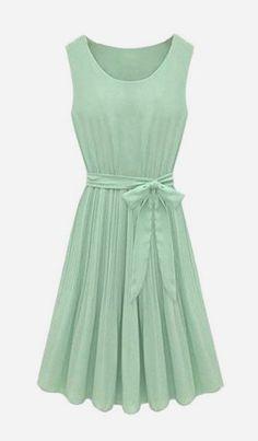 Pleated Belt Chiffon Dress