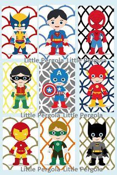 "Superhero Digital Art Prints 4x6"" set of (9) nine prints, cute for a little superhero nursery, Little Boy art,nursery, o"