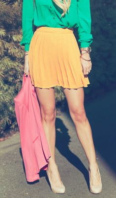 bright colors + nude heels
