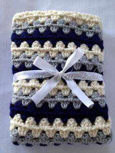 """Crochet Baby Boy Blanket - The """"Edward"""" Baby Blanket - Crib Sized Blanket- Baby Blanket. $60.00, via Etsy."""