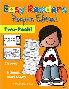 Easy/Emergent Readers! Pumpkins: Life Cycle & Pumpkin Patch. Guided Reading. from Kimberly's Kindergarten on TeachersNotebook.com -  (24 pages)  - This packet includes two easy/emergent readers using simple sentences and age-appropriate graphics and sentences. Each book comes with three worksheets (sight words, sentence scramble & comprehension)