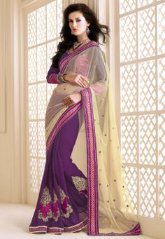 #Purple Chiffon #Saree with Blouse