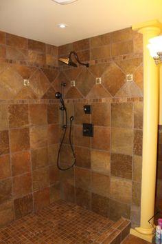tiled shower church hous, bathroom project, hous idea, bath tile, bathroom idea, tiled showers, bathroom remodel, design idea, tile showers