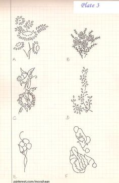 Vintage Embroidery Motifs. Plate #3.  These would look good on corner of handkerchief, napkins, table-mats,... or as repetitive , spaced-out designs on bed-linen.