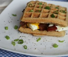 A paleo breakfast sandwich made with toasted waffles. Can be filled with eggs, bacon, sausage, avocado, mayo, and more. Make ahead, Portable and Versatile.  http://stalkerville.net/ #paleo #glutenfree