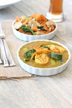 Paleo Thai Yellow Curry with Prawns - Dairy and Grain Free Yellow Curry Sauce made from scratch but very easy!