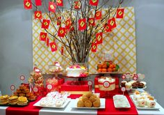 overall table aesthetic: food display, labeling, tiering year parti, dessert tables, buffet, birthday parties, new years party, party themes, chinese new years, chinese party, parti idea
