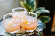Salty Dog: Put an ice cube in a each glass. Pour 1.5oz  of vodka over the ice. Then add 1/2 cup of grapefruit juice. Splash in 1/2 oz of St. Germain. Stir.