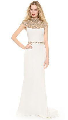 Gold Collared Wedding Dress