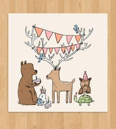 Woodland Creatures Party Print