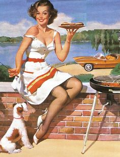 Cook-out at the lake...love that car! ~ Vintage pin-up by Gil Elvgren, ca. 1960s.