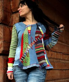 Crazy fantasy recycled sweater and jeans hippie boho by jamfashion