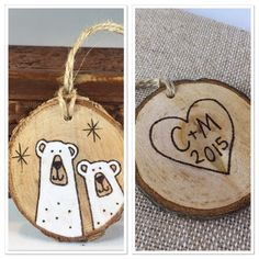 "Personalized Wood Slice Christmas Ornament. Polar Bear Ornament.Couples BFF ornament.Wood burning.Handpainted Original Art.Stocking Stuffer. by MalamiStudio on Etsy <a href=""https://www.etsy.com/listing/251690797/personalized-wood-slice-christmas"" rel=""nofollow"" target=""_blank"">www.etsy.com/...</a>"
