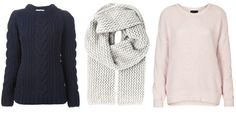 Our fashion director's tips for updating your fall wardrobe with TEXTURE - Shown: YMC sweater, $418, farfetch.com; Lala Berlin scarf, $255, farfetch.com; Topshop sweater, $68, topshop.com. #InStyle