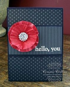 handmade card ,,, red and navy with a bit of white ... navy patterned papers ... dimensional circle flower in rid ... like it!