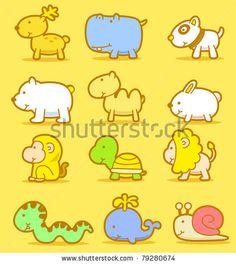 stock vector : Vector illustration, cartoon animals ,cute doodle