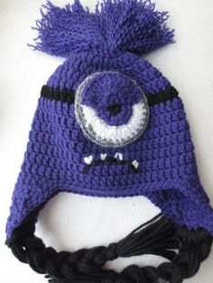 Crocheted Despicable Me Evil Minion Hat by LovelyLizardDesigns, $15.00