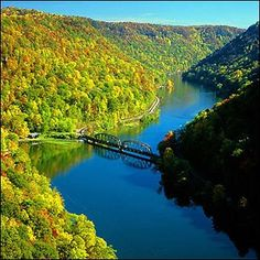 mountain, state parks, country roads, hawk nest, autumn, heaven, west virginia, place, river