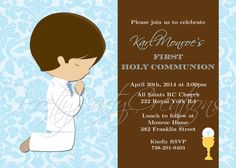 COMMUNION BOY blue and brown invitation  by PrettyPartyCreations, $11.50