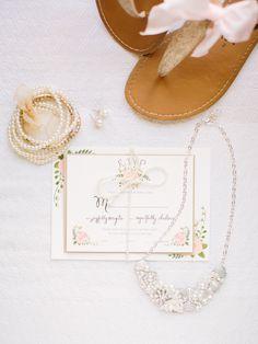 sweet wedding accessories, photo by When He Found Her http://ruffledblog.com/brooklands-farm-wedding #bridal #pink