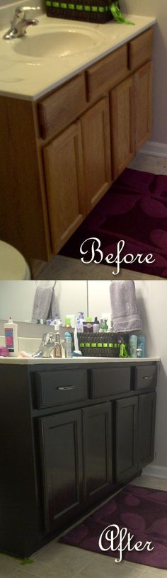 Bathroom Makeover: An easy staining project to get rid of the builder basic oak cabinet!