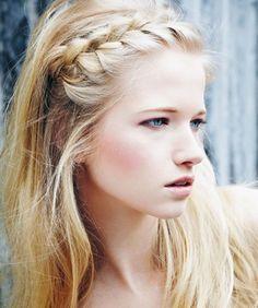french braids, everyday hairstyles, headband, long hair, blond, bobby pins, braid hair, boho, bang