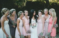 mismatched maids in pinks