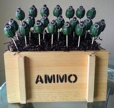 Grenade Cake Pops - Video Games Cake Pops - Army Birthday Party - Edible Party Favor via Etsy