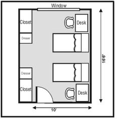 My general dorm room layout.