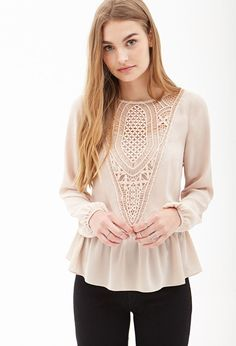 FOREVER 21 Crochet Paneled Chiffon Blouse Is on sale now for -25 % !