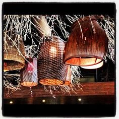 DIY light fixtures using Pier 1 baskets