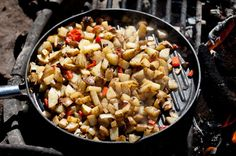 5 lbs (about 6) russet potatoes, cubed- 1/4 cup olive oil- 2 tablespoons butter or margarine- 1 onion, chopped- 2 bell peppers, chopped- 1 jalapeno, sliced- 2 teaspoons garlic powder- 1 teaspoon seasoned salt- 1 teaspoon smoked paprika- Salt and pepper to taste