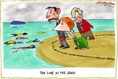 A line in the Sand, Nicholson, The Australian   Political Cartoons Australia