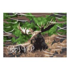 Camo Moose Hunting Theme Wedding RSVP Cards