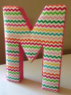 Fabric Letter M : Rainbow Chevron Initial Hanging Wall Decor on Etsy, $18.50
